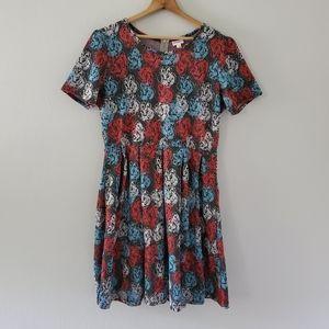 Lularoe Red/White/Blue Floral Amelia Dress